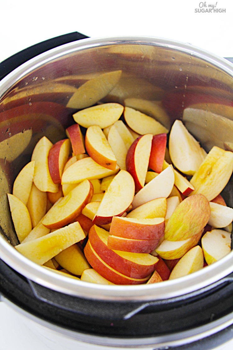 Sliced apples in the instant pot with peels on