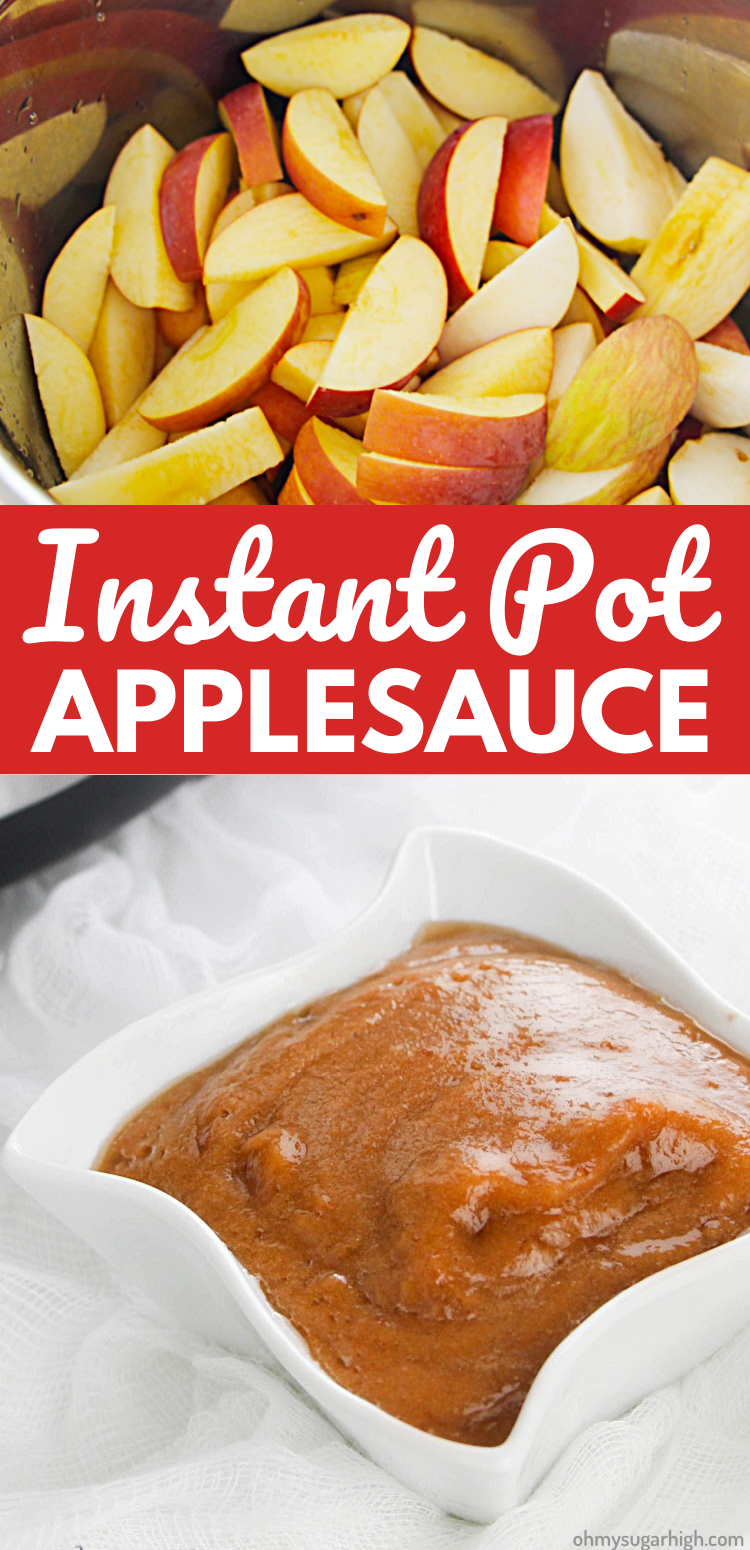 This Instant Pot Applesauce Recipe is a the easiest way to make a fresh, creamy homemade apples in less than 30 minutes! Featuring a just a little bit of cinnamon and brown sugar, this simple applesauce is a great fall recipe.