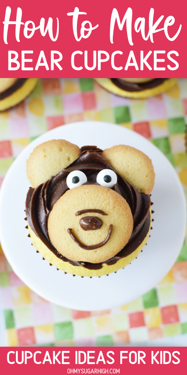 Bear Cupcakes are so easy to make these simple instructions! Using vanilla wafers, frosting and edible eyes, you can create your own fun bear cupcake toppers. Works great for so many birthday themes including zoo, lumberjack, camping, teddy bear or a woodland birthday party.