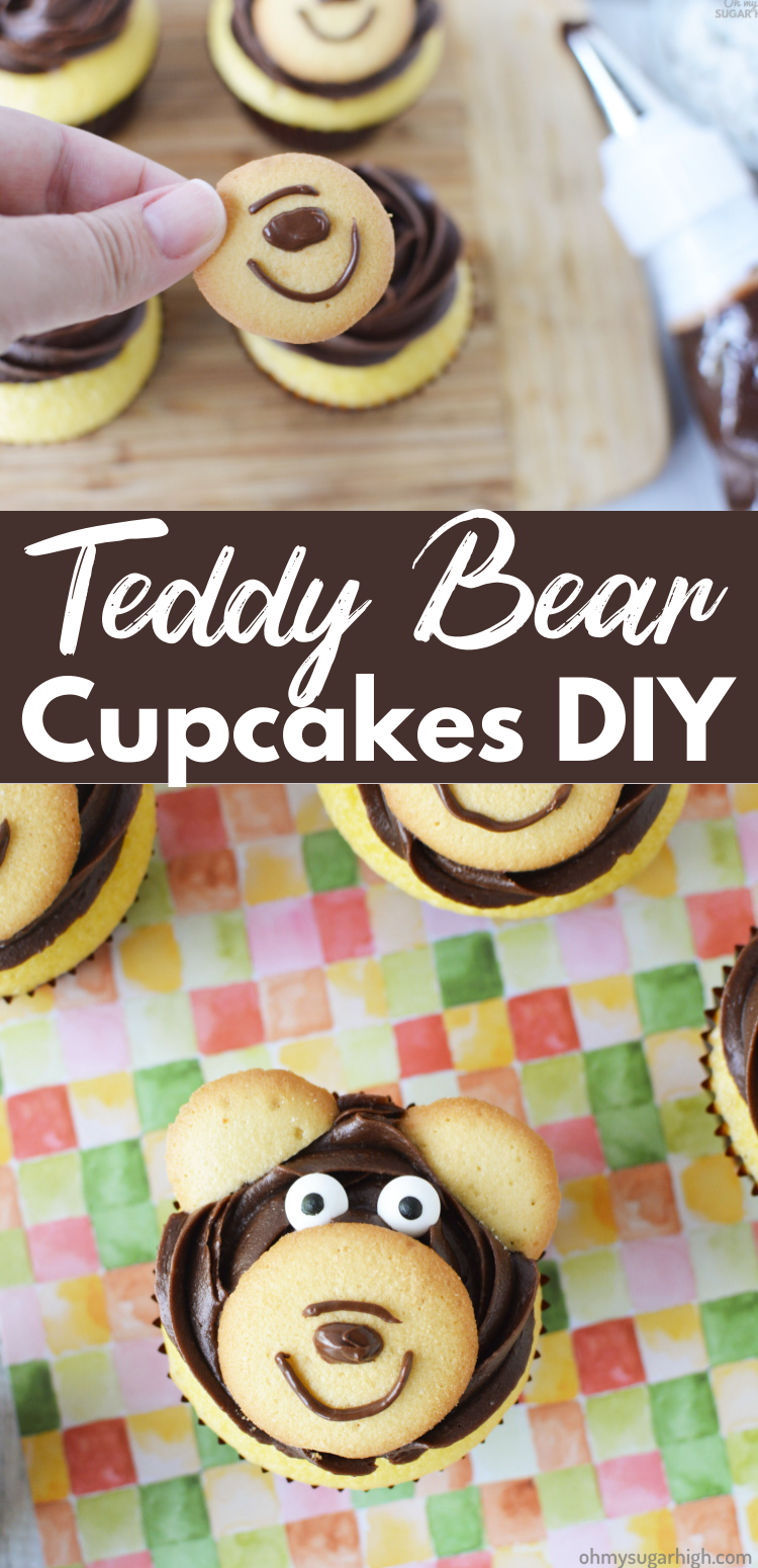 Teddy Bear Cupcakes have never been easier with this edible cupcake topper idea. Perfect for many kids birthday themes including a camping, woodland, teddy bear, zoo or lumberjack birthday party!